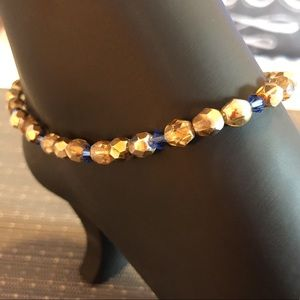 Jewelry - Old Gold & Blue Handmade Ankle Bracelet